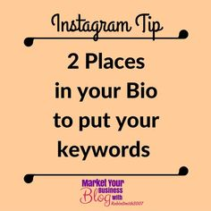 Instagram Tip: There are only 2 places in your bio that Instagram indexes so this is where you should make sure you put your keywords.  1. Your username 2. Your headline  I invite you to click the link in my bio and join the 6 Steps to Instagram Success FB group today I share a tutorial of exactly how to set up your bio!    Want to learn more about building your business using Instagram? Or want to work closely with me? Click the link in my bio and join my community!  #marketyourbusinessblog