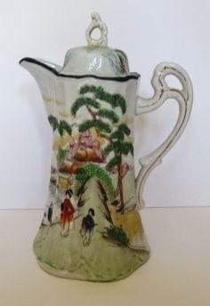 ... Antique Japanese Kutani Satsuma Porcelain Tea Pot, Hand Painted