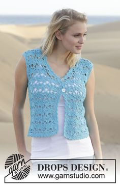 Feminine and a beautiful summer colour - #crochet vest with fan pattern by #DROPSDesign - free pattern available now