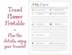 Off Instant Download Travel Printables Vacation Planner