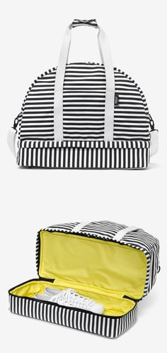 Stripes weekender with a shoe compartment