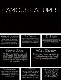 Failure means nothing more then you are closer to succeeding, as long as you don't let it defeat you!