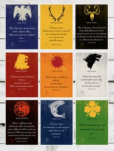 Game of Thrones - SET OF 9 - A3 Modern Retro Vintage GoT Sigil Character Quote Nine Typography Art Print. £110.00, via Etsy.