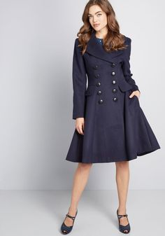 63e6e70d210 Frosted Elegance Fit and Flare Coat