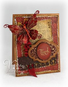 Card by Julee Tilman  (010711)  [(dies) The Cat's Pajamas Apron Border, Verve Stamps Classy Label, Embossed Oval; (e/f) Sizzix Tim Holtz Damask Texture Fade; (stamps) Verve Stamps Sweet Treats]