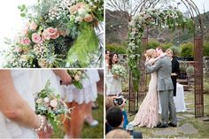 A Romantic Wedding with a Pink Wedding Dress // Green Wedding Shoes