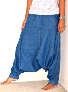 Denim Harem Pants/Hippie Pants/Gypsy Pants/Romper/ Genie pants/Yoga pant/Bohemian pants/wide leg pants with pocket - Last one by TopsyCurvyDesigns on Etsy