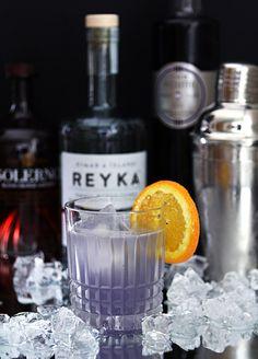 The Midnight Sun Featuring Reyka Vodka, Blood Orange Liqueur and Creme de Violette