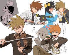Pokemon Kalos, Pokemon Eevee Evolutions, Pokemon Manga, All Pokemon, Pokemon Team Leaders, Gary Oak, Green Pokemon, Pokemon Couples, Pokemon Ships