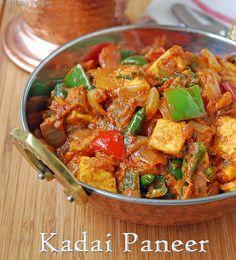 Kadai paneer recipe, How to make kadai paneer - Raks Kitchen - Kadai paneer is one of the easiest paneer recipes I make. Learn how to make the easiest kadai panee - Holi Recipes, Veg Recipes, Indian Food Recipes, Vegetarian Recipes, Cooking Recipes, Indian Foods, Punjabi Recipes, Indian Snacks, Gourmet