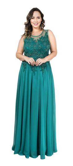 Vestido longo de chiffon e tule bordado. A saia evasê é uma ótima opção tanto para mulheres com quadril largo quanto estreito e o minucioso bordado transmite sofisticação à produção. A união desses do...