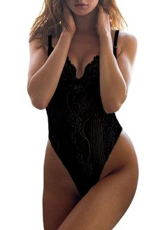 135c12cce5 Women Hollow Out Lace One Piece Bodysuit Teddy Lingerie Lace Exotic  Sleepwear - Black - CF180CR8G87