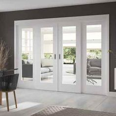 These Easi-Slide white full pane shaker sliding doors incorporating a frame and track set with fixed side insets includes clear safety glass, when you add on the frame dimensions and allow the two opening centre doors to overlap the fixed side frame sidelights by 16mm you have a maximum overall width as follows; All 2090 high inc 29mm extra for site adjustment, and widths of either 2510mm, 2810mm, 3110mm or 3410mm overall.