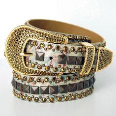 Kippy's Light Olive Antique Gold Belt at The Maverick Western Wear