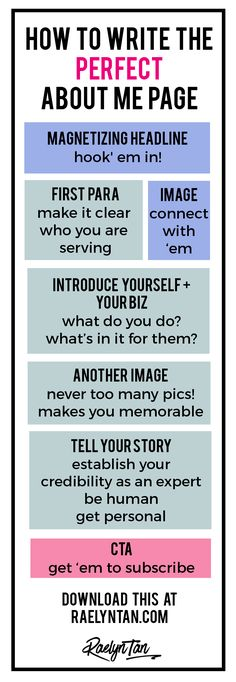 How to Write the Perfect About Me Page (With Examples + Printable Graphic!) What Your About Page Must Do. The Anatomy of a Perfect About Page.
