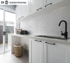 SPLASHBACK A white textured overlay to bring the hamptons to life in the laundry. Also admire the matte black tapware and handles for a a bold yet beautiful contrast. Laundry Room Tile, Laundry Nook, Modern Laundry Rooms, Room Tiles, Small Laundry, Kitchen Tiles, Kitchen Splashback Ideas, Laundry Cupboard, Laundry Cabinets