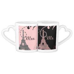 black pink eiffel tower vintage paris wedding lovers mugs