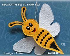 Bee decoration felt No.413  5x7hoop  Video tutorial  In The