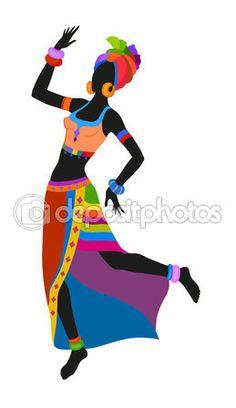 Mujer africana de danza étnica — Vector de stock #107754898