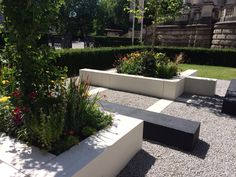 Hepworth inspired garden at Tate Britain - like the concrete edging creating borders