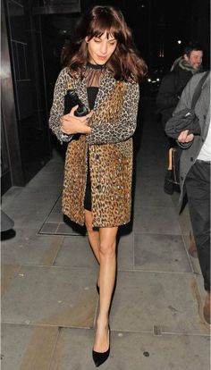 Alexa Chung (MN - Tailored animal print lower mid-thigh coat, w/mid-thigh dress  and Pointed Toe  Heels