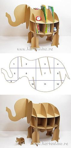 Kids stand made of cardboard & # Elephant & # Cardboard Paper, Cardboard Furniture, Cardboard Crafts, Paper Toys, Kids Furniture, Paper Crafts, Paper Clay, Cnc Projects, Diy Projects To Try