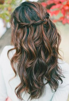 Dress up your gorgeous waves with a twisted crown braid!