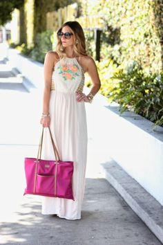 Outfit Post: Lace & Neon Roses Maxi Dress