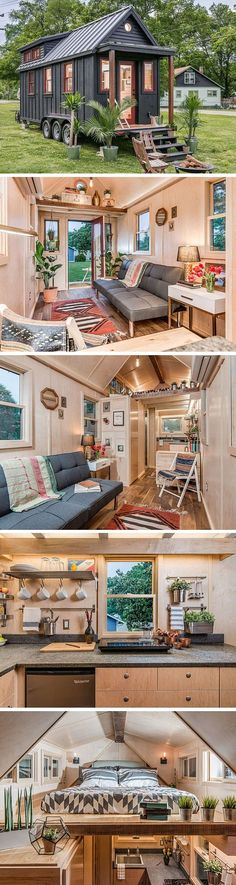 The Riverside tiny house by New Frontier Tiny Homes. A 246 sq ft home with Scandinavian flair. The Riverside tiny house by New Frontier Tiny Homes. A 246 sq ft home with Scandinavian flair. Tyni House, Tiny House Living, House Bath, Small Living, Modern Living, Tiny House Movement, Tiny House Plans, Tiny House On Wheels, Tiny Homes