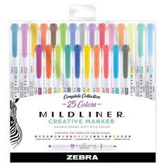 Highlighters Mildliner Double Ended Standard Colors- Zebra : Target Bullet Journal Writing, Bullet Journal Ideas Pages, Bullet Journal Inspiration, Best Bullet Journal Pens, School Organization Notes, School Notes, School Tips, School Resources, School Hacks