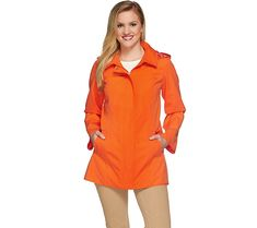 Dennis Basso Water Resistant A-Line Jacket with Circle Print Lining — QVC.com