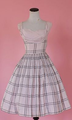 1950s shelf bust dress/ 50s pink plaid day by thesweetlifevintage