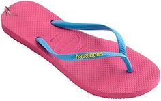 Havaianas Slim Logo Pink Blue Womens Summer Beach Flip Flops-38 - Chaussures havaianas (*Partner-Link)