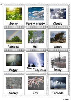 Autism Communication Cards- Weather, #pecs #autism For more resources follow https://www.pinterest.com/angelajuvic/autism-special-education-resources-angie-s-tpt-sto/