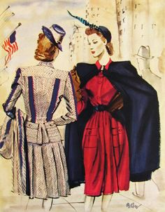 This RBW (Count Rene Bouet-Willaumez) illustration from the late or has a patriotic flair. As an illustrator, he employed colo. Fashion Now, 1940s Fashion, Vintage Fashion, Fashion Illustration Vintage, Fashion Illustrations, Patron Vintage, Conservative Fashion, 20th Century Fashion, Vintage Glamour
