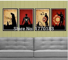 Hand-painted Abstract Marvel Comics heroes Oil Painting Retro poster Canvas painting (Iron man,Batman,Captain America,Spiderman)(China (Mainland))
