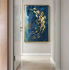 Abstract Gold Fish Chinese Canvas Painting Big Blue Poster Print Luxurious Wall Art For Living room Aisle Gold tableaux Picture Abstract Wall Art, Canvas Wall Art, Types Of Art Styles, Wall Art Prints, Poster Prints, Gold Wall Art, Blue Poster, Nordic Art, Wall Art Pictures
