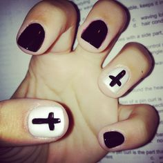 cross nails I just did. SOO grunge I love them.