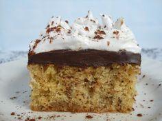 Prăjitură cu nucă, ciocolată şi spumă de albuş Krispie Treats, Rice Krispies, Vanilla Cake, Deserts, Food, Essen, Postres, Meals, Rice Krispie Treats
