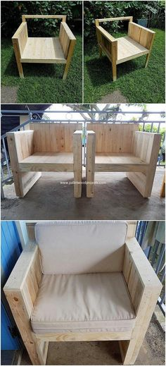 This is rather a simple idea of the pallet chair for you! Check out the mixture of modernity and simplicity within it that is all carried out with the blend work of the perfect means of chair cut to cut piece work. Make it part of your house right now! Pallet Bench, Wooden Pallet Furniture, Wooden Pallets, Wooden Diy, Outdoor Furniture Sets, Diy Wood, Furniture Ideas, Pallet Wood, Outdoor Pallet