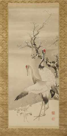 Detail 1: Cranes and deer, Edo period (1615 –1868), by Soga Shohaku (1730–1781). Japan. One of a pair of hanging scrolls; ink and light colors on silk. Courtesy of the Larry Ellison Collection, EX 2013.2.039.1.