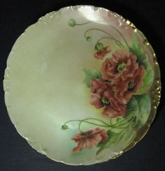 Rosenthal Small Cabinet Plate, Dark Red Floral Design Hand Painted, Signed by Artist, Metallic Gold Accents and Trim, Bavarian China