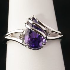 14k White Gold Amethyst Ladies Ring – Pear-Shape Amethyst with ...