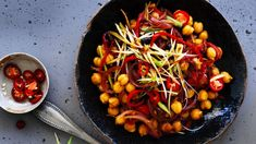 Stir-fried chickpeas with black bean and chilli