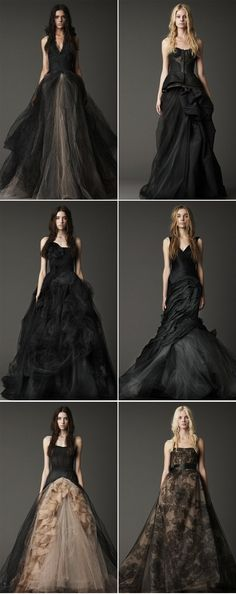 Vera Wang Black Wedding Gowns, never, yet sooo gorg. Black Wedding Dresses, Wedding Gowns, Prom Dresses, Vera Wang Wedding, Pnina Tornai, Gothic Wedding, Beautiful Gowns, Wedding Styles, Wedding Ideas
