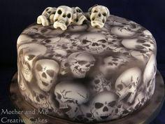 airbrushed gothic skull cake