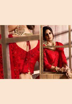 Red silk festival wear saree  5407 Green Silk, Pink Silk, Wedding Sarees, Red Fabric, Festival Wear, Work Fashion, Silk Sarees, Sleeve Styles, Indian
