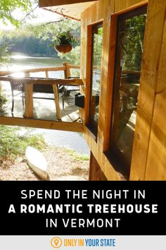 This beautiful waterfront treehouse in Vermont is perfect for a romantic getaway or relaxing vacation. The charming cabin is packed with amenities and perfect for all seasons. Enjoy nature at the ultimate glamping destination! Best Bucket List, Treehouse Cabins, Little Cabin, Hidden Beach, Local Attractions, Swimming Holes, Romantic Getaway, Walking In Nature, Vermont
