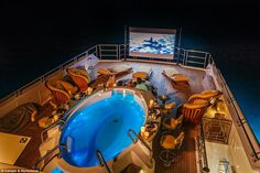 The 56-metre (183ft) motor yacht has an expansive sun deck that features an outdoor cinema with a 132in screen, and a swim-up bar