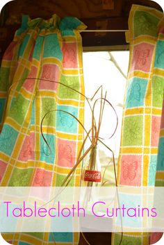 DIY Playhouse Curtains… from a Vinyl Tablecloth! - tutorial at TheFrugalGirls.com